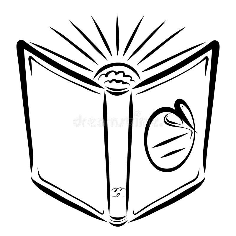 Open boek met glanzende zon, hart en vissen op de dekking stock illustratie