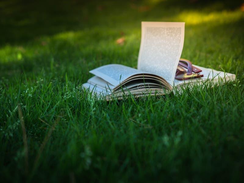Open boek met glazen in groen gras met zonlichtclose-up stock foto