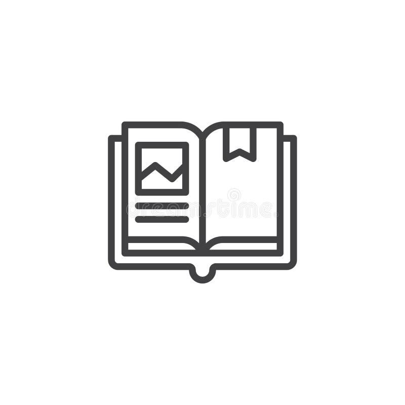 Open boek met het pictogram van het referentieoverzicht royalty-vrije illustratie
