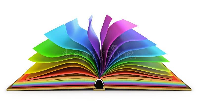 Open boek met kleurrijke pagina's royalty-vrije illustratie