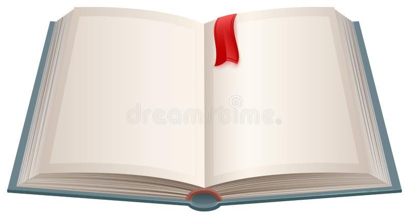 Open boek met lege bladen en rode referentie royalty-vrije illustratie