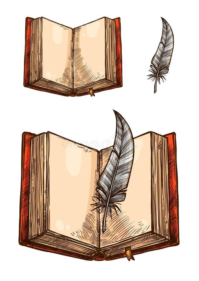 Open boek met lege pagina en veerpenschets royalty-vrije illustratie