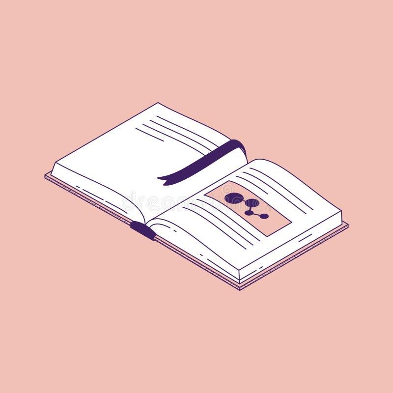 Open boek met referentie isometrische vectorillustratie stock illustratie