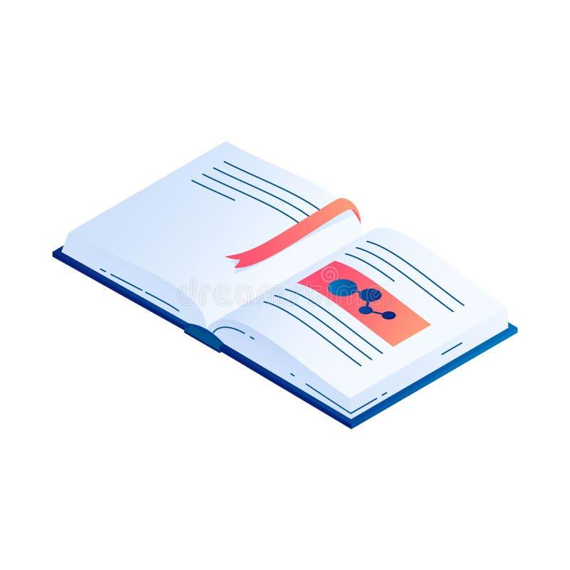 Open boek met referentie isometrische vectorillustratie vector illustratie