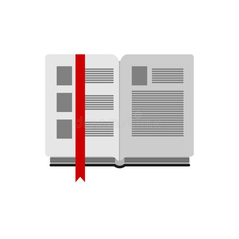 Open boek met referentie op witte achtergrond stock illustratie