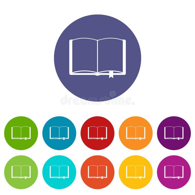 Open boek met referentie vastgestelde pictogrammen stock illustratie
