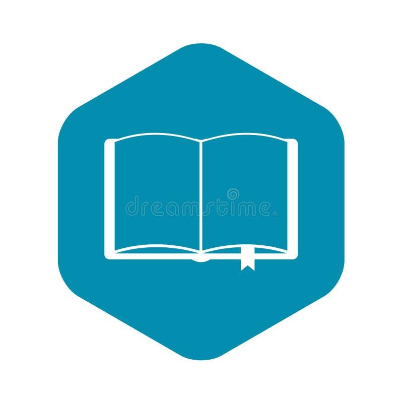 Open boek met referentiepictogram, eenvoudige stijl vector illustratie