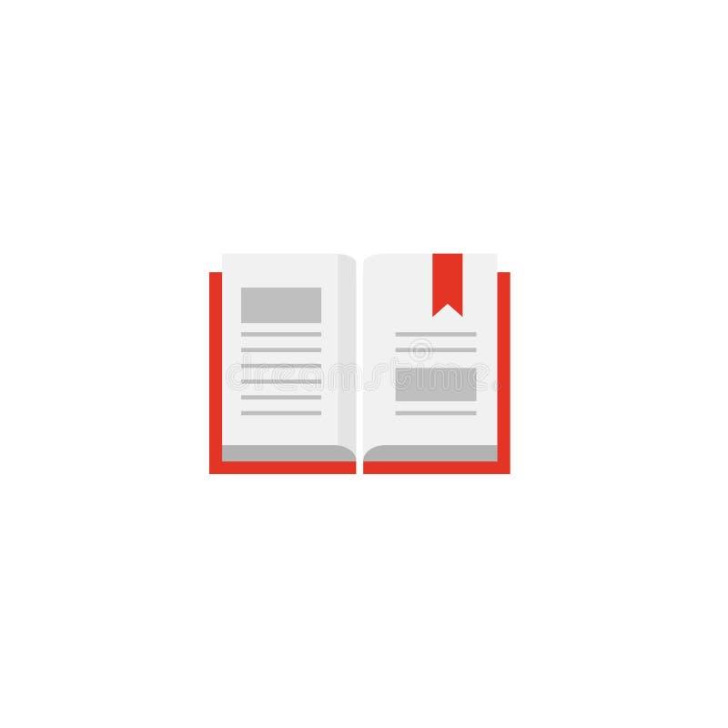 Open boek met rode bookcover en lintreferentie Vlak die pictogram op witte achtergrond wordt geïsoleerd vector illustratie