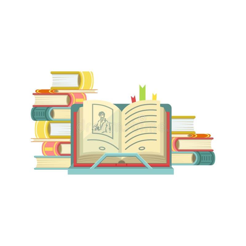 Open Boek met Stapels van Boeken op de Achtergrond stock illustratie