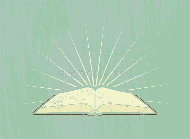 Open boek met stralen Uitstekende affiche in grungestijl Vector illustratie royalty-vrije illustratie