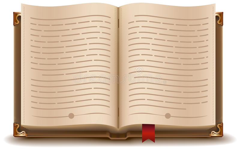Open boek met tekst en rode referentie stock illustratie