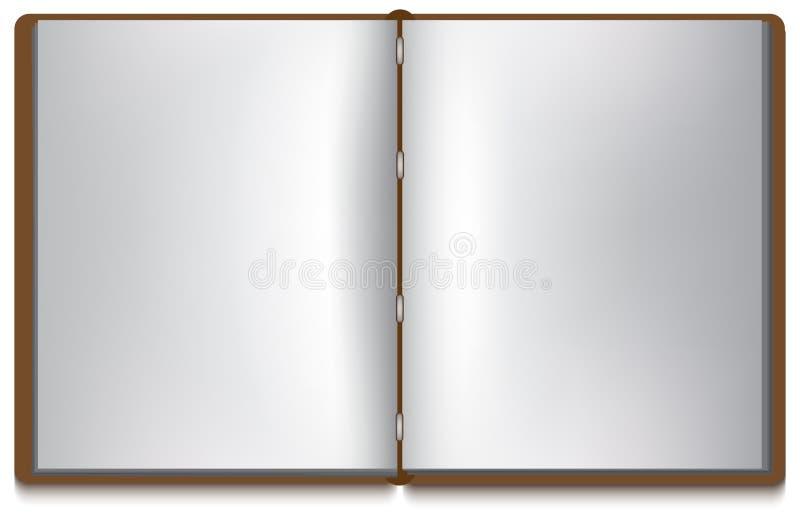 Open boek met witte pagina's en bruine dekking royalty-vrije illustratie