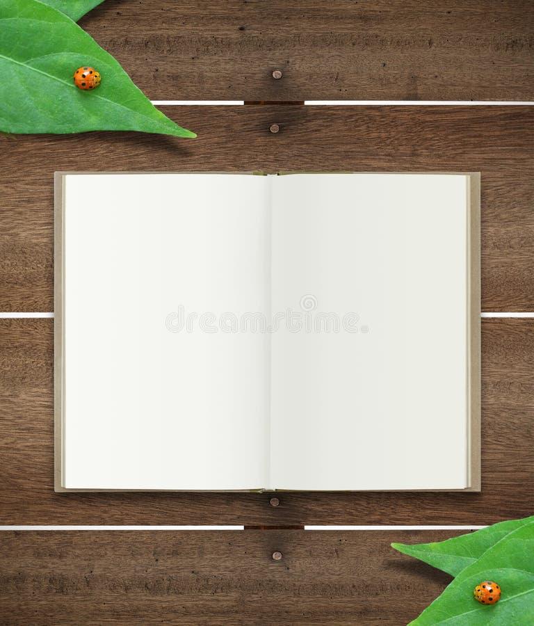 Open boek op hout vector illustratie