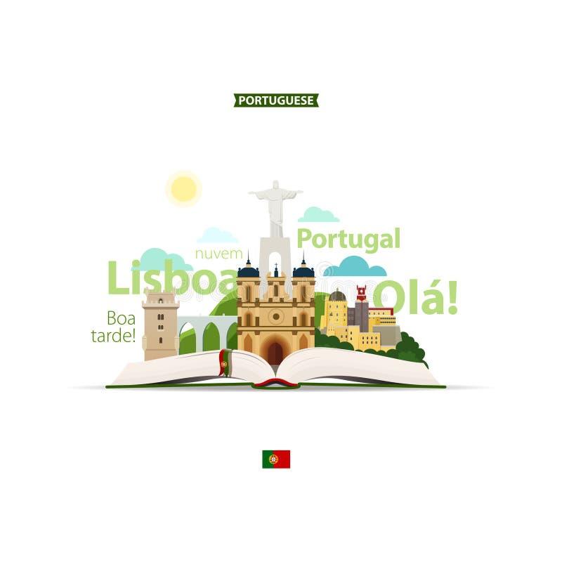 Open boek, standbeeld, kasteel, bergen, andere gezichten en Portugese woorden Vertaling: ` dankt u, hello, wolk, Lissabon ` vector illustratie