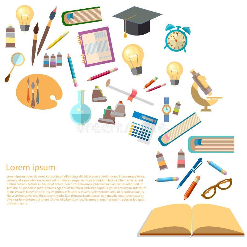 Open boeken en pictogrammen van de macht van het onderwijsconcept van kennis royalty-vrije illustratie