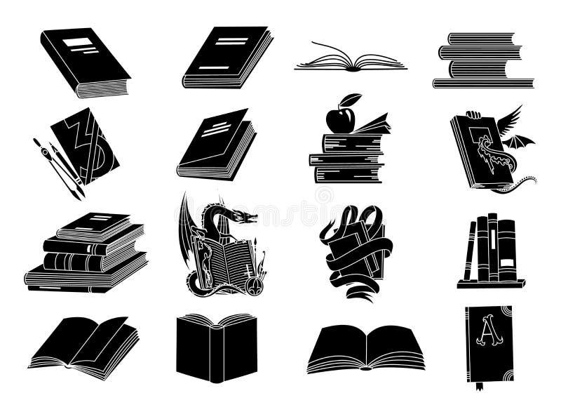 Open boeken zwarte silhouetten De pictogrammen vectorillustratie van de boeklezing die op wit voor bibliotheekembleem of onderwij royalty-vrije illustratie
