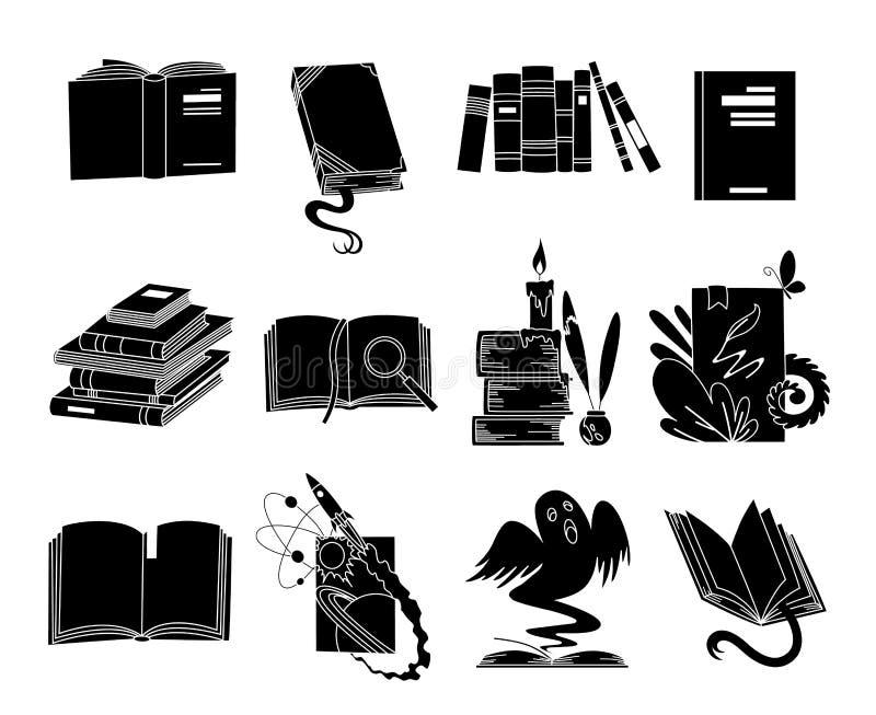 Open boeken zwarte silhouetten Van de lezingspictogrammen van het sprookjeboek de vectordieillustratie op wit voor bibliotheekemb vector illustratie