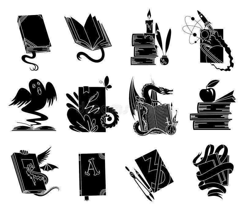Open boeken zwarte silhouetten Van de lezingspictogrammen van het sprookjeboek de vectorillustratie die op wit voor bibliotheekem royalty-vrije illustratie