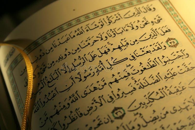Open boekpagina's van Heilige koran stock afbeeldingen