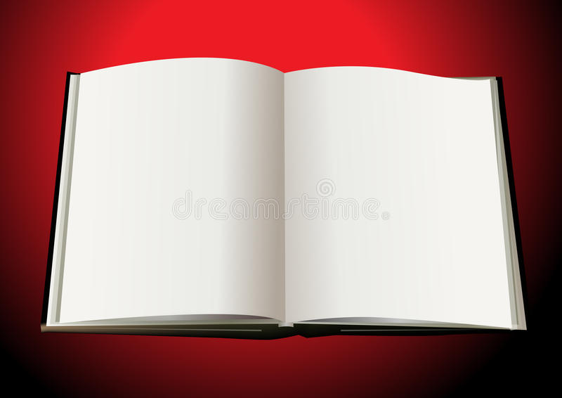 Open book. An illustraion of a open book in red background