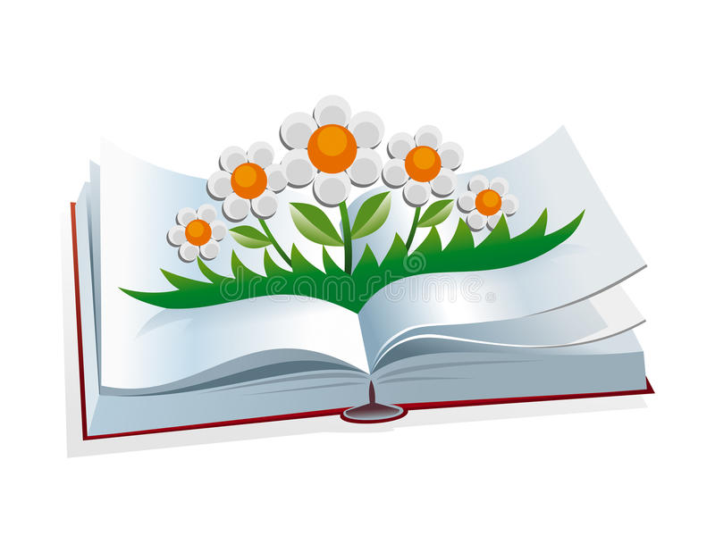 Open book. Illustration of an open childrens book-folding stock illustration