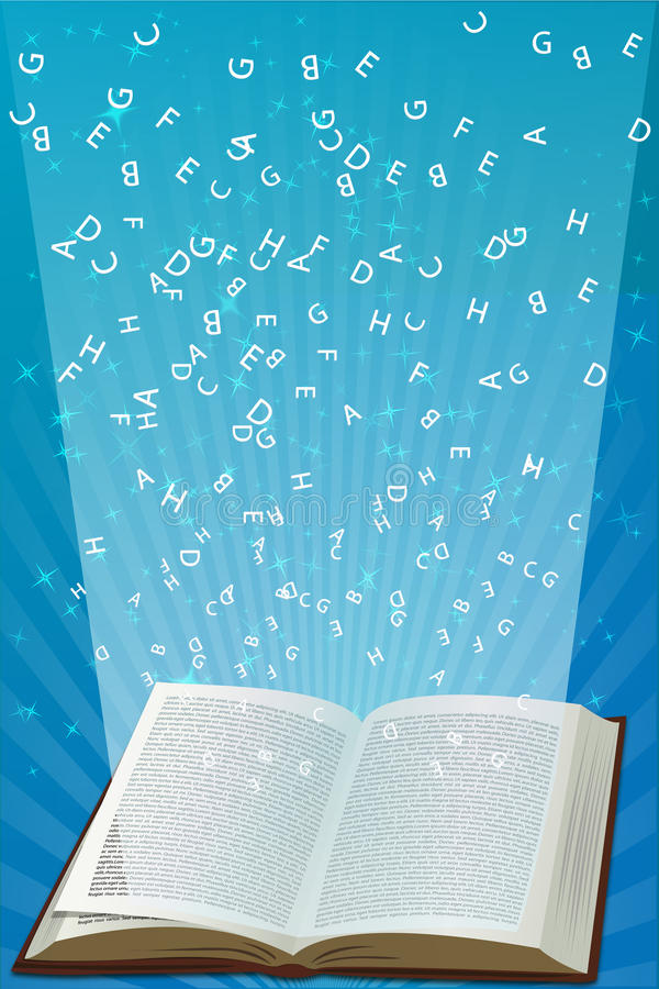 Download Open Book With Alphabets Flying Stock Vector - Image: 17548577