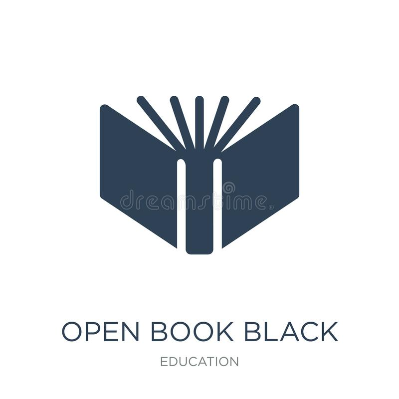 open book black cover icon in trendy design style. open book black cover icon isolated on white background. open book black cover royalty free illustration