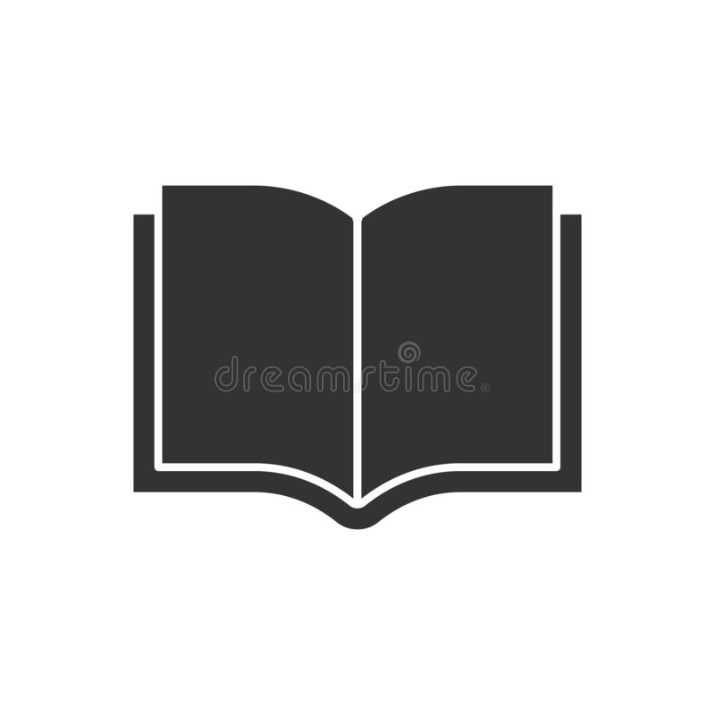Open book black icon. On white background vector illustration