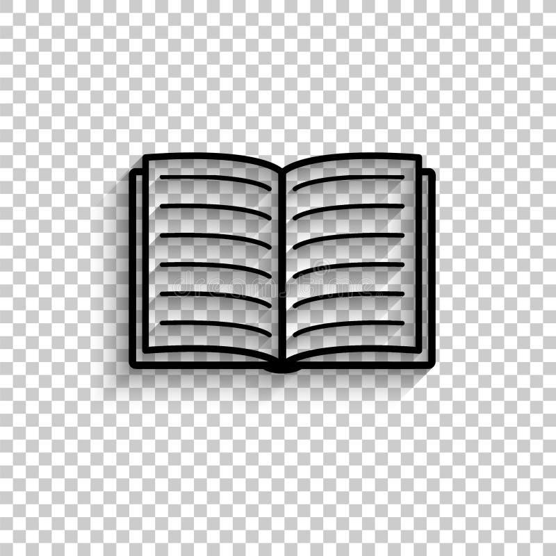 Open book - black vector icon stock illustration