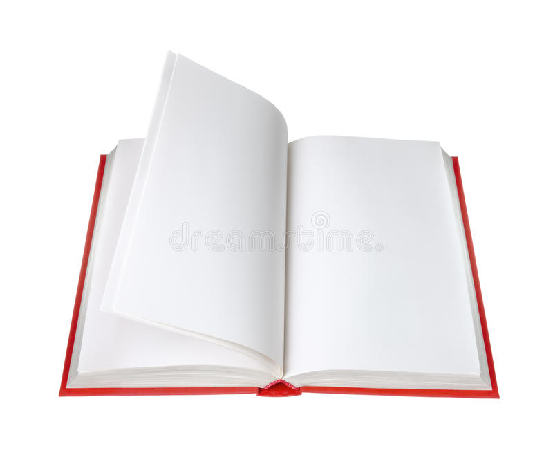 Open book with blank pages. On white background stock photography
