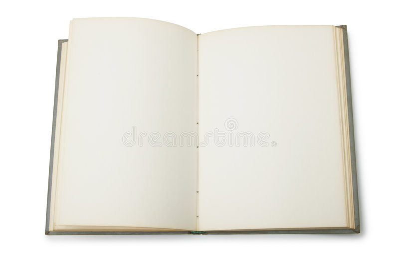 Open book with blank pages. Isolated over white background stock images
