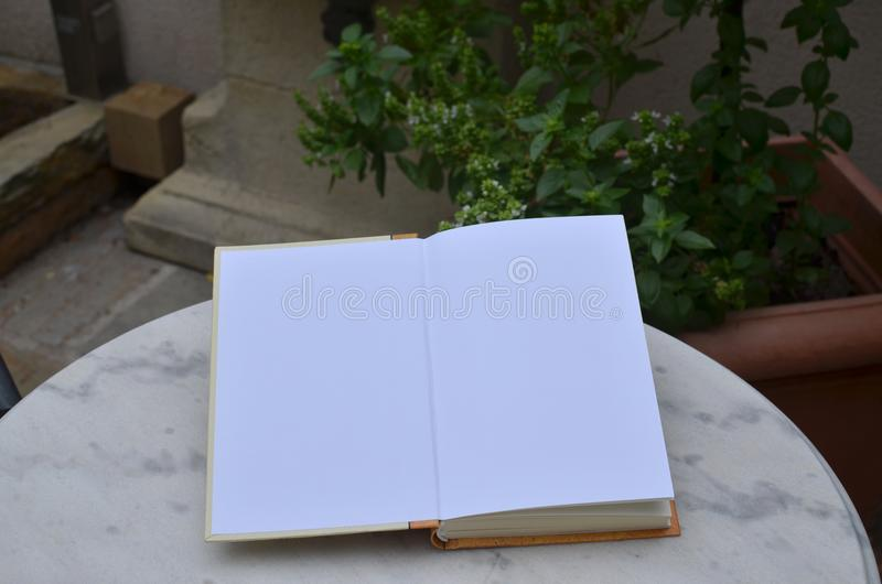 Open book with blank pages. Set on a garden table royalty free stock images