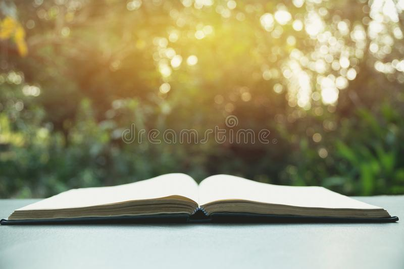Open book. Book open on old wooden table on nature background royalty free stock photos