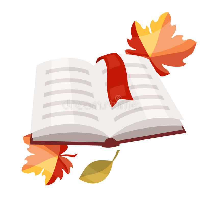 Open book with bookmark and autumn leaves royalty free illustration