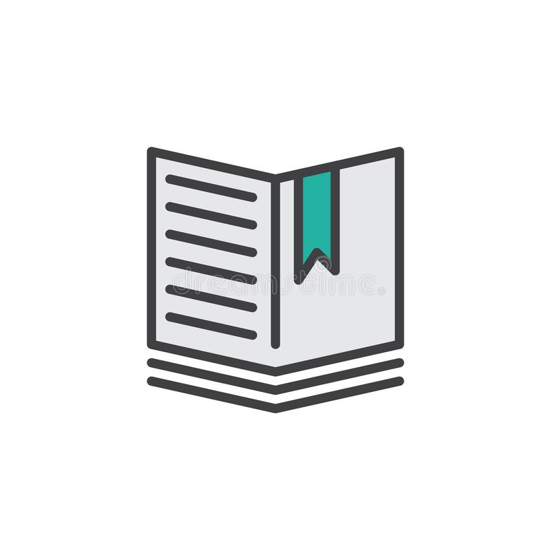 Open book with a bookmark filled outline icon royalty free illustration