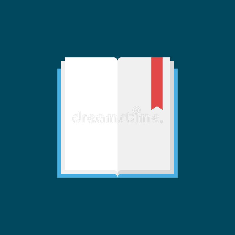 Open book with bookmark flat vector icon vector illustration