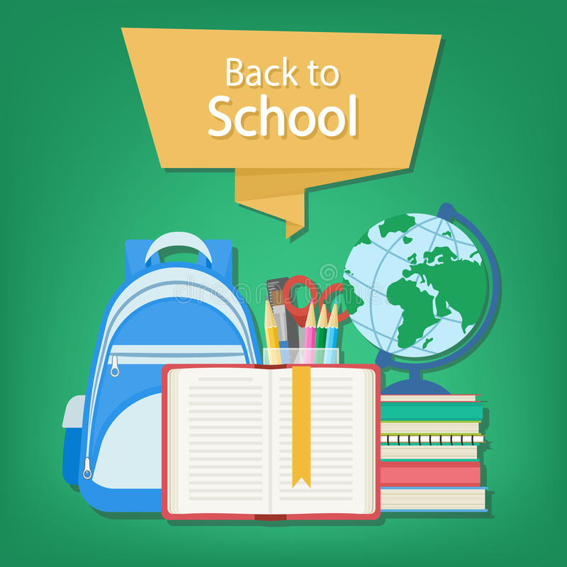 Open book with a bookmark and school supplies such as a backpack, textbooks, notebook, globe, stationery set. Back to school text on the banner. Open book with vector illustration