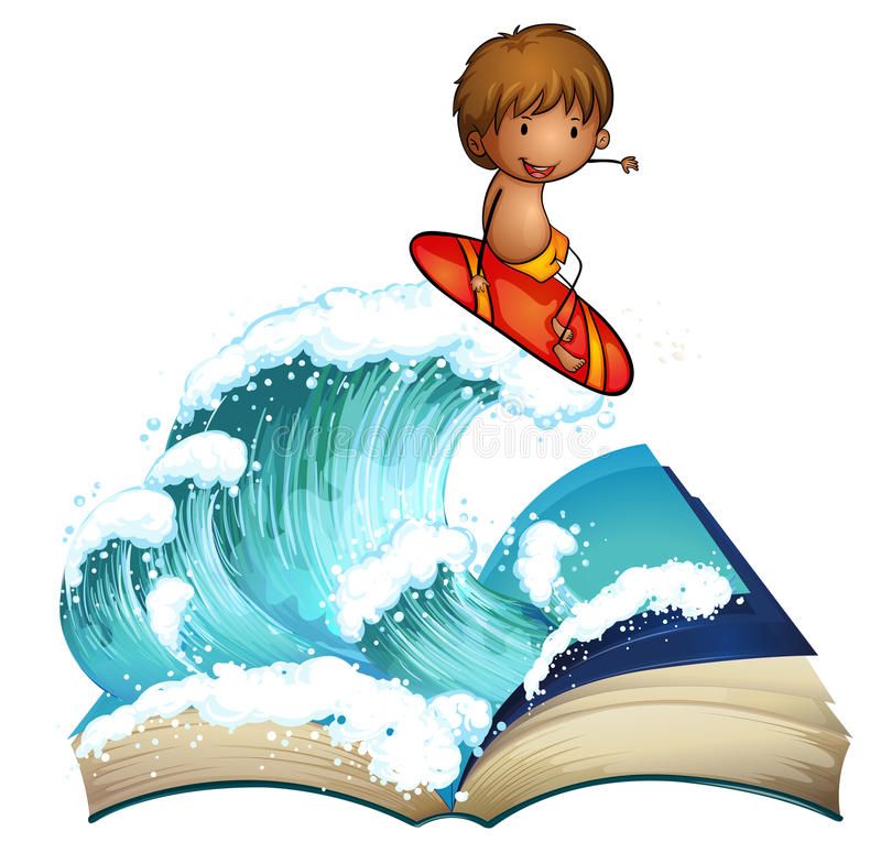 An Open Book With A Boy Surfing Stock Photo