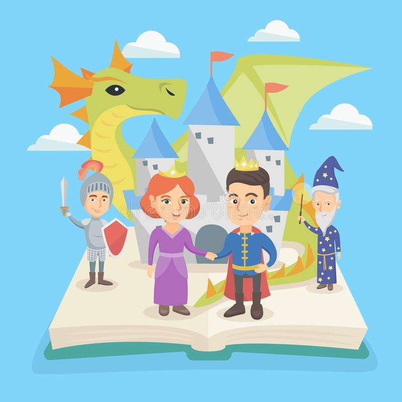 Open book with castle and characters of fairytale. stock illustration