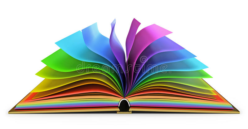 Open book with colorful pages royalty free illustration
