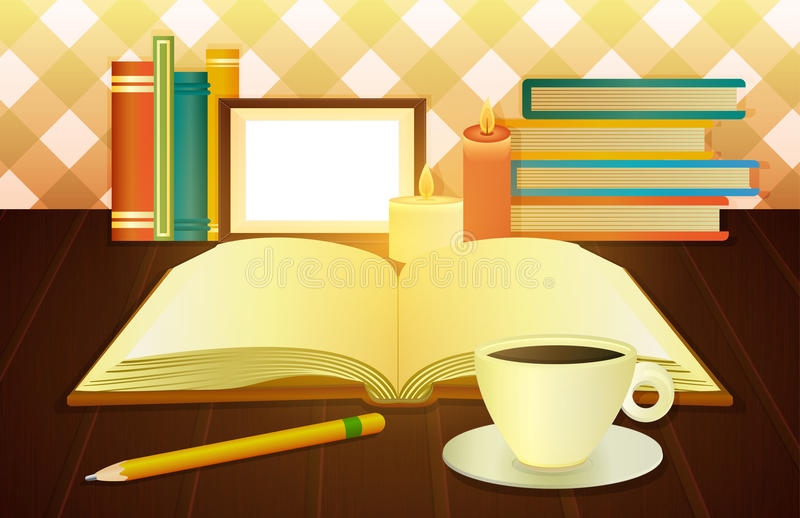 Open book and cup of coffee vector illustration
