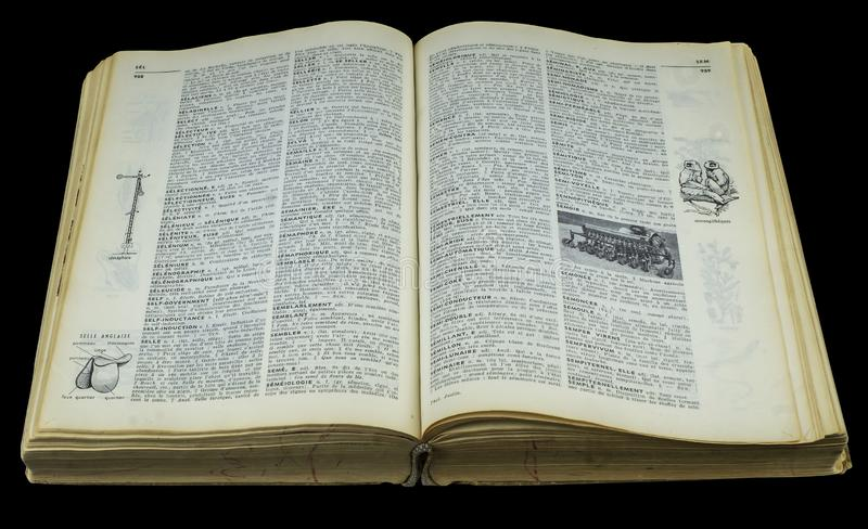 Open book dictionary. Open dictionary on a black background with path incuded royalty free stock photography