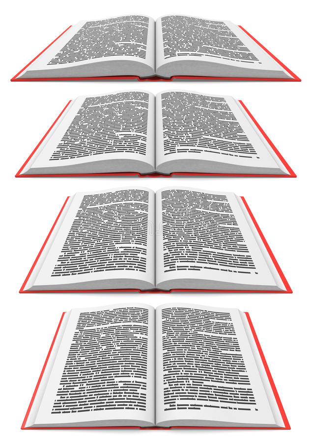 Open book in different perspectives vector illustration