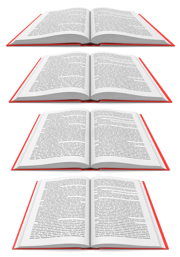 Open book in different perspectives on white background stock illustration