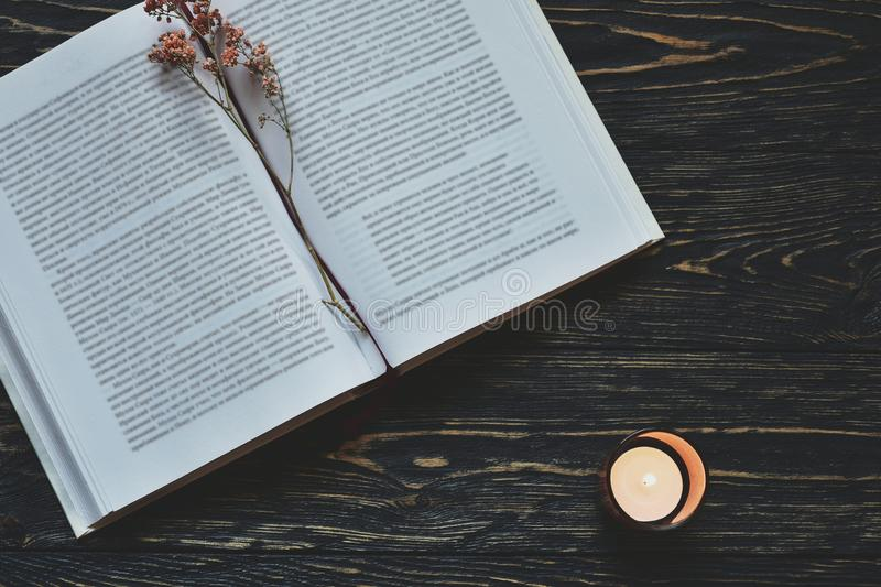 Open book with dry flowers and candle on a dark textured desk. Autumn background stock photography