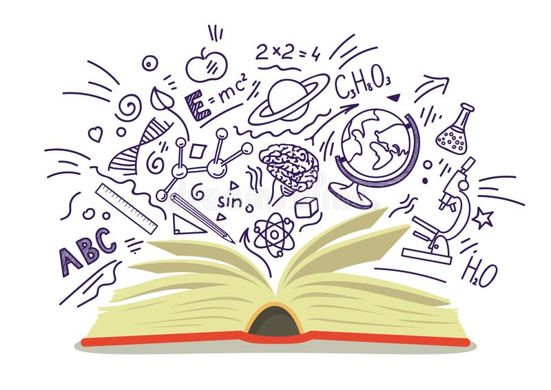 Open book with education, school, science hand drawn sketches on white background. vector illustration