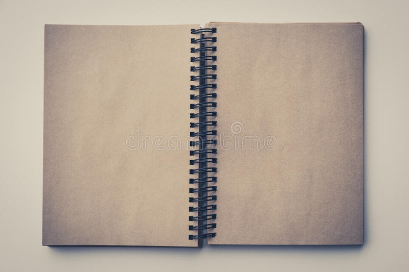 Open book, empty pages vintage look royalty free stock photos