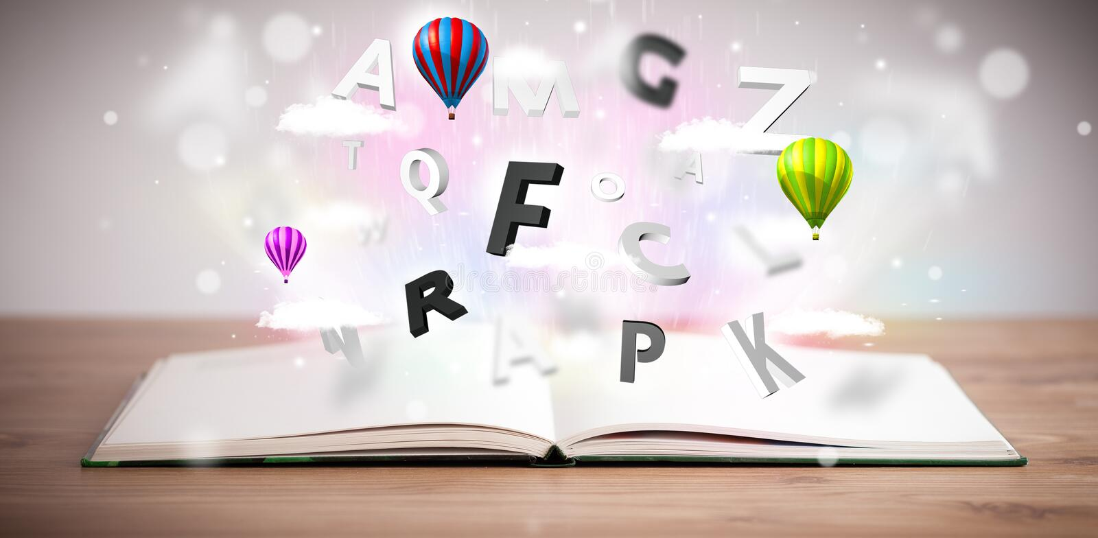 Download Open Book With Flying 3d Letters On Concrete Background Stock Illustration - Image: 34185690