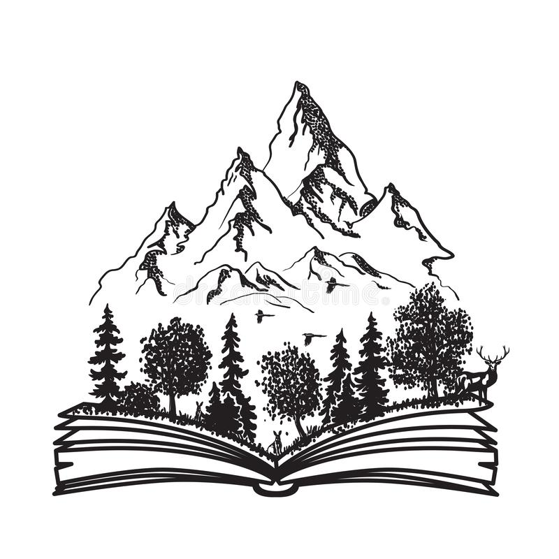 Open book with forest and mountains stock illustration