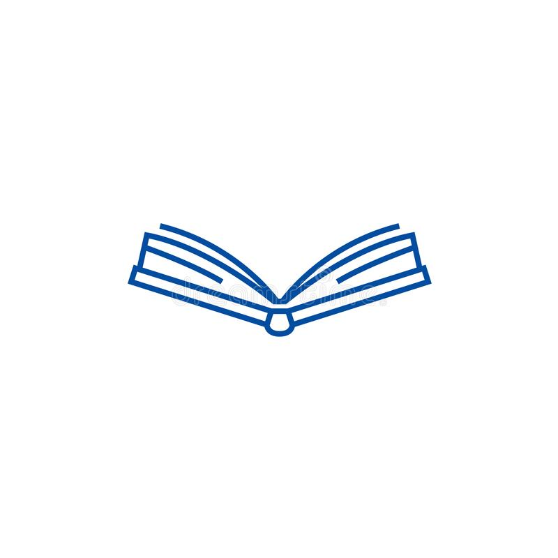Open book frontview line icon concept. Open book frontview flat  vector symbol, sign, outline illustration. royalty free illustration